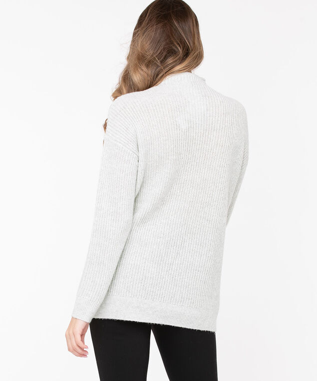 Eco-Friendly Mock Neck Sweater, Light Grey Mix, hi-res