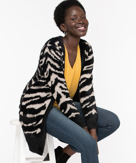 Zebra Long Open Cardigan, Black/Grey, hi-res