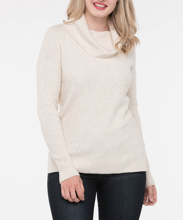 Asymmetrical Ribbed Cowl Neck Sweater, Ecru, hi-res