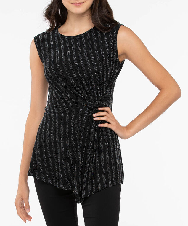 Sleeveless Twist Front Asymmetrical Top, Black/Silver, hi-res