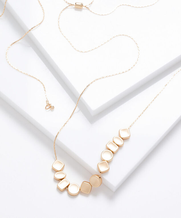 Matte Geo Lariat Chain Necklace, Gold, hi-res
