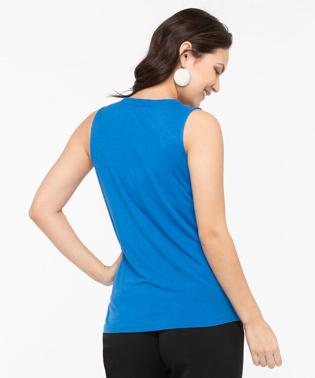 Sleeveless Zip-Front Mixed Media Top, Azure, hi-res