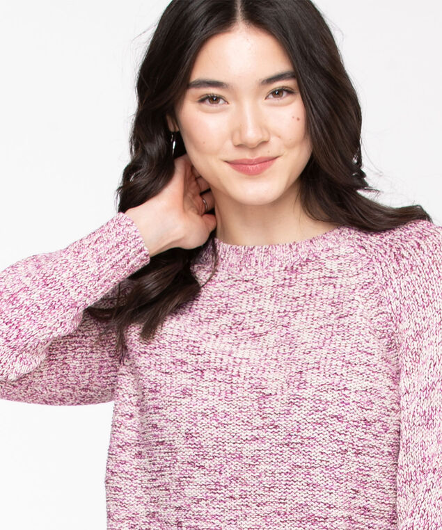 Eco-Friendly Yarn Raglan Sweater, Purple Mix