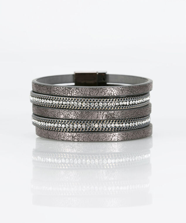 Crystal & Faux Leather Wrap Bracelet, Mid Heathered Charcol, hi-res