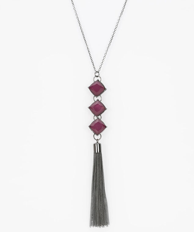 Stacked Faceted Stone & Tassel Necklace, Plum/Hematite, hi-res