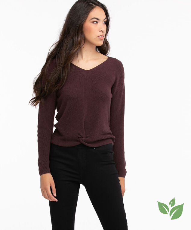 Eco-Friendly Knot Front Sweater, Huckleberry
