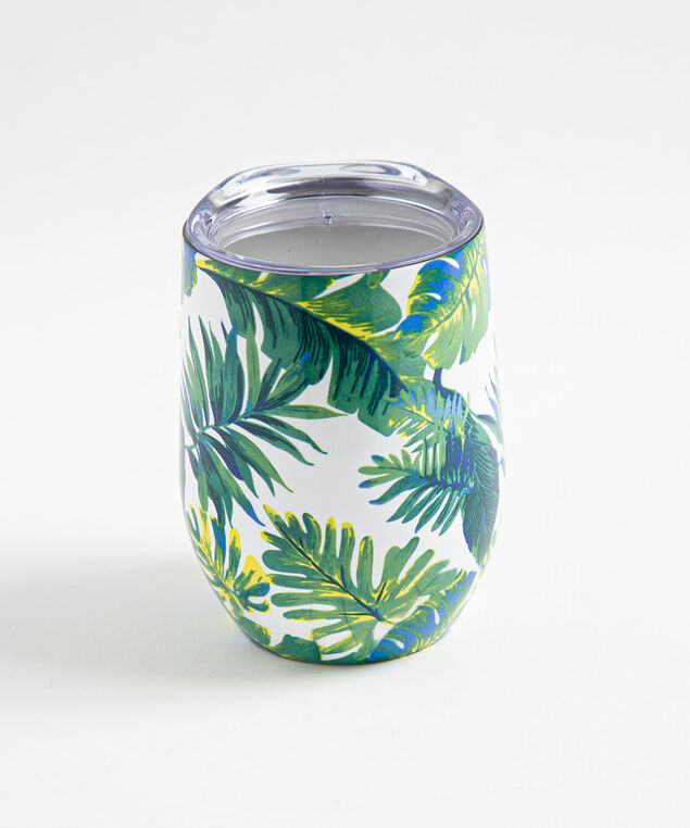 Patterned Insulated Wine Tumbler, Palm Fronds