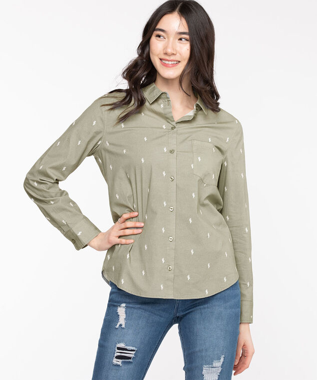 Classic Collared Button-Up Shirt, Reseda Cactus