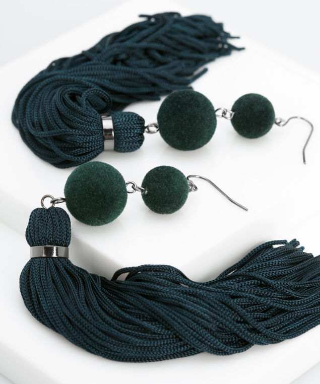 Velvet Ball & Tassel Earring, Deep Green/Rhodium, hi-res