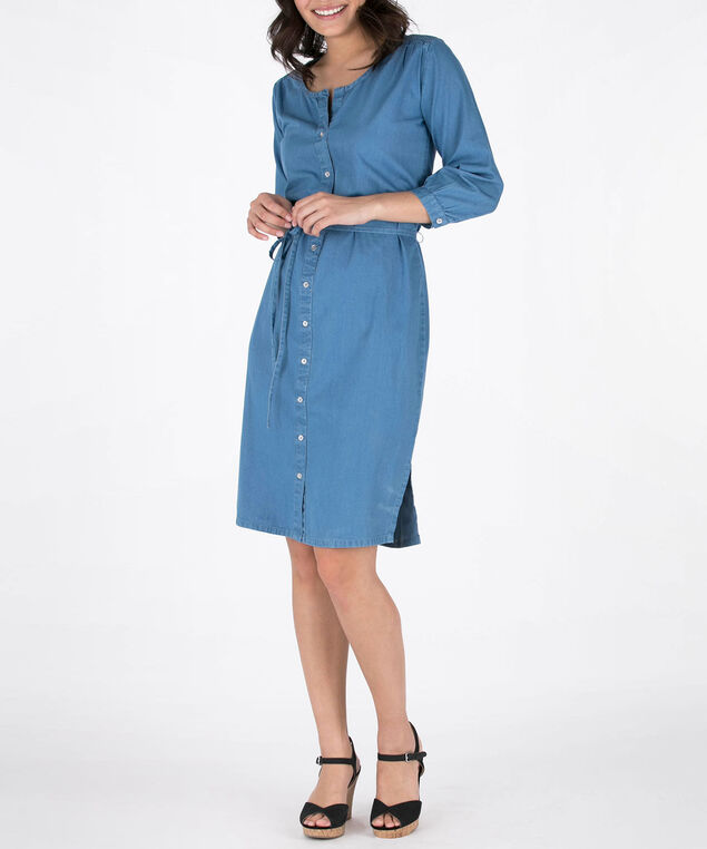 Denim Tencel Button Front Dress, Denim Blue, hi-res