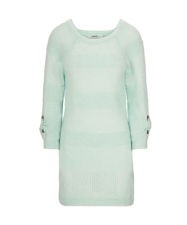 Textured Stripe Grommet Sleeve Pullover, Cool Mint, hi-res