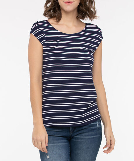 Extended Sleeve Striped Tee, Midnight Blue/Pearl, hi-res