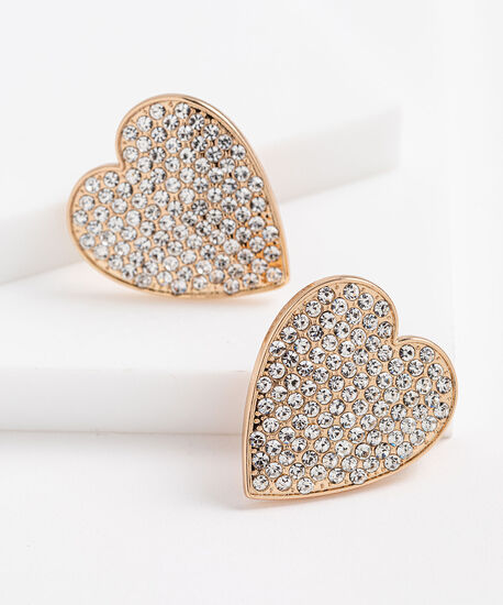 Crystal Heart Statement Earrings, Gold, hi-res
