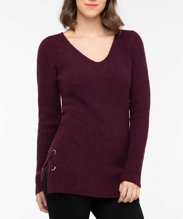 Lace Up Detail V-Neck Sweater, Berry Mix, hi-res