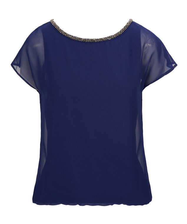 Beaded Trim Bubble Blouse, Cobalt, hi-res
