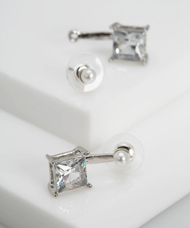 Faceted Stone & Pearl Earring, Pearl/Rhodium, hi-res