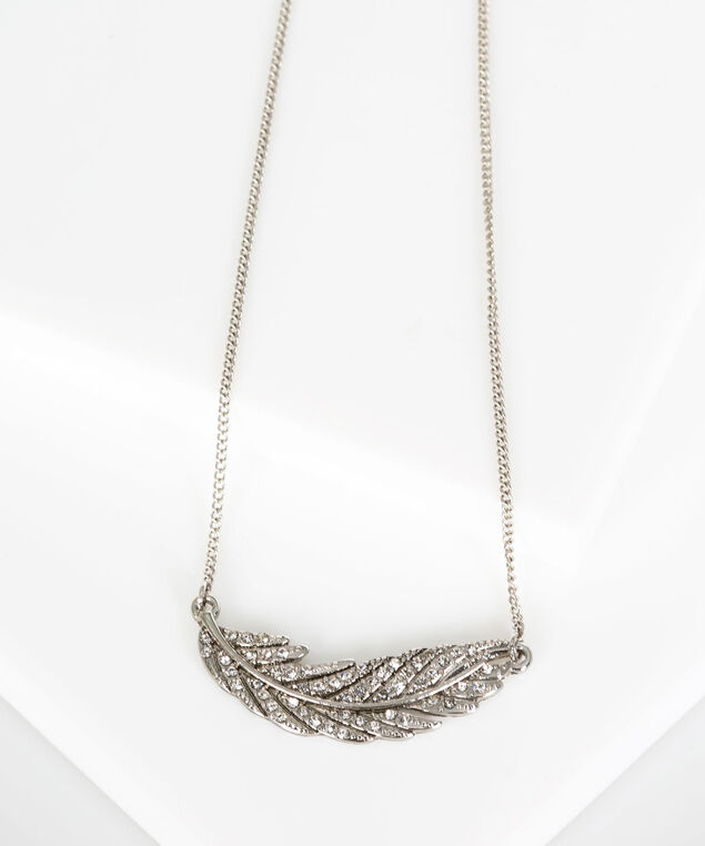Crystal Feather Necklace, Rhodium, hi-res