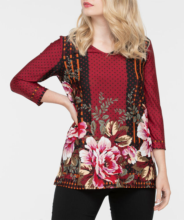 3/4 Sleeve Placement Print Top, Black/Sage/Pink/Cherry, hi-res