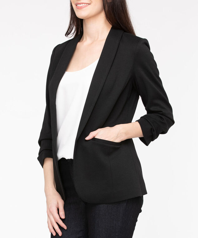 Shawl Collar Knit Open Blazer, Black, hi-res