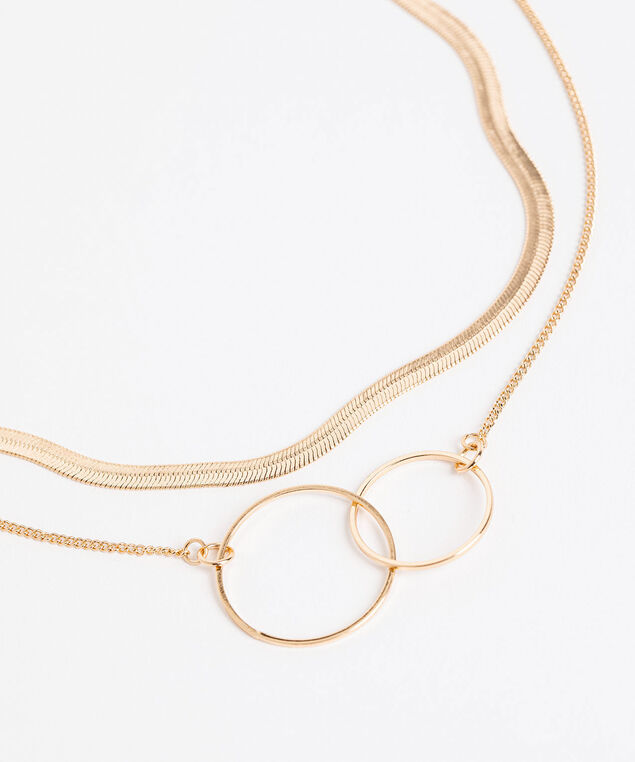 Snake Chain & Double Ring Layered Necklace, Gold
