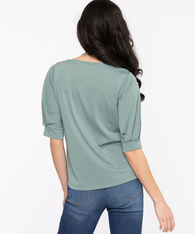 Balloon Sleeve Boat Neck Top, Citadel