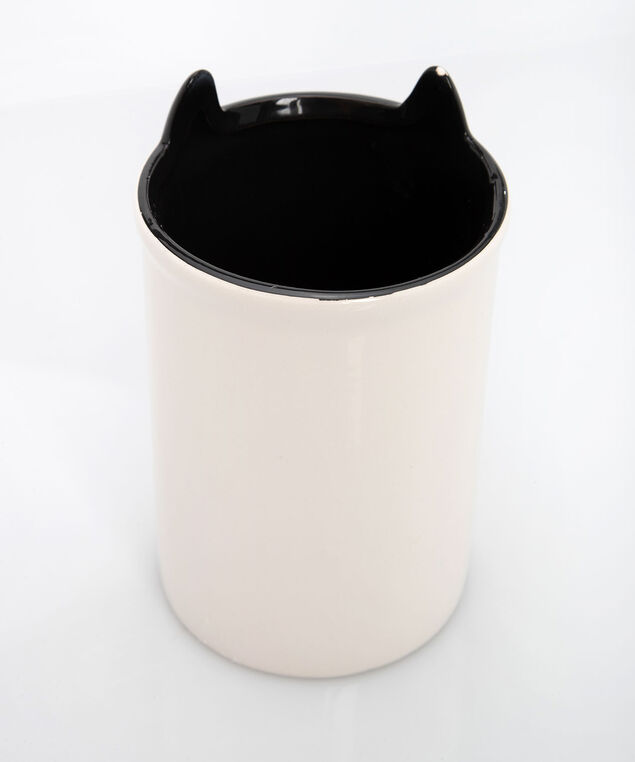 Cat Ceramic Brush Holder, Pearl/Gold, hi-res