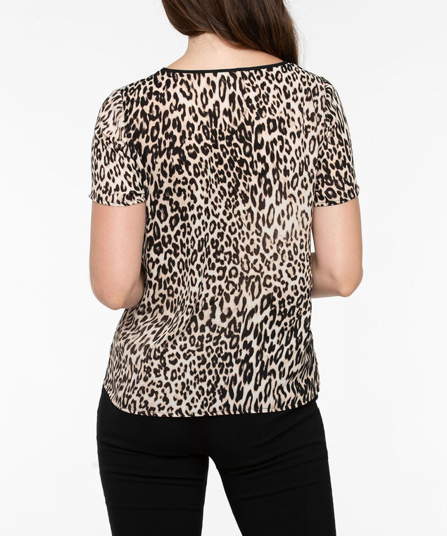 Scoop Neck Animal Print Blouse, Black/Beige/Taupe, hi-res
