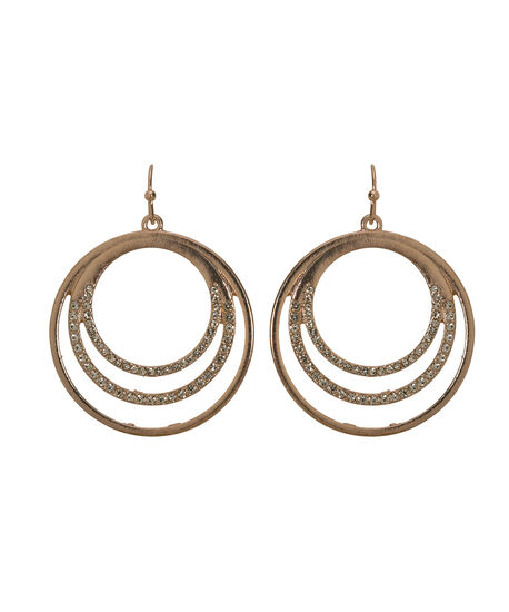Crystal Circle Drop Earring, Rose Gold/Clear, hi-res