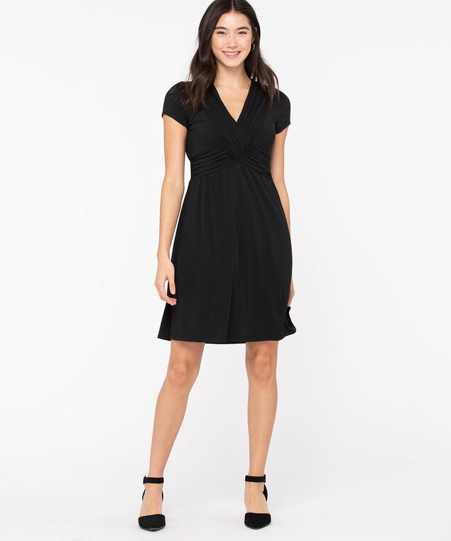 Black Ruched V-Neck Dress, Black, hi-res