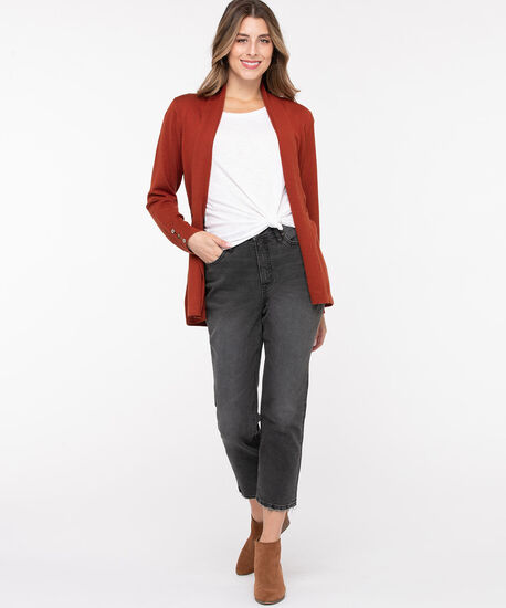 Ribbed Side Tab Open Cardigan, Rust, hi-res