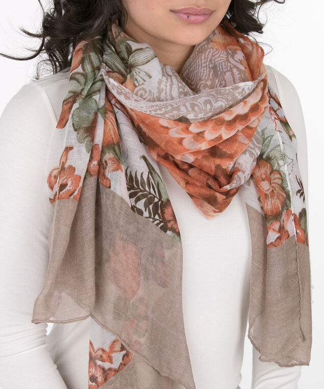 Floral Paisley Oblong Scarf, Taupe/Coral/Green, hi-res