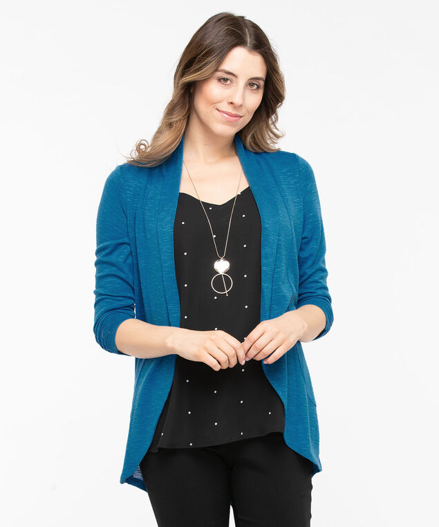 Shawl Collar Cardigan, Azure, hi-res