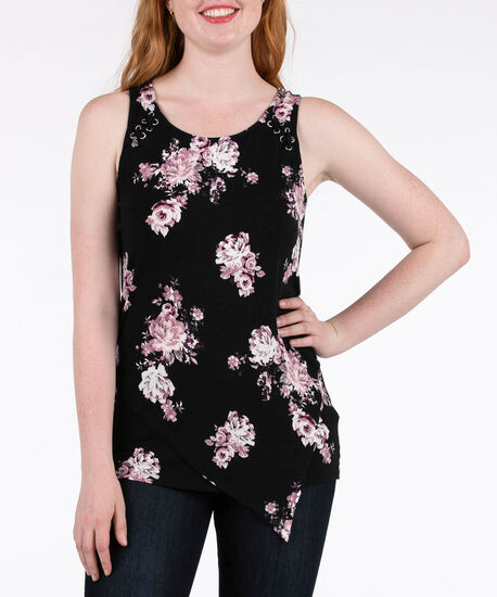 Sleeveless Lace Up Asymmetrical Top, Black/Pearl/Dusty Pink, hi-res