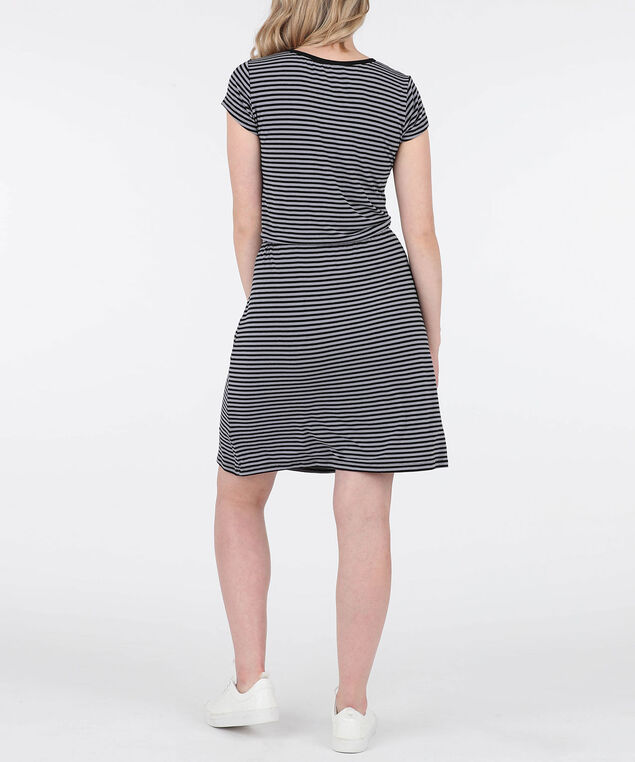 Striped Button Front Knit Dress, Grey/Black, hi-res