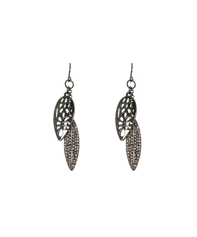 Filigree & Pave Leaf Earring, Clear/Hematite, hi-res