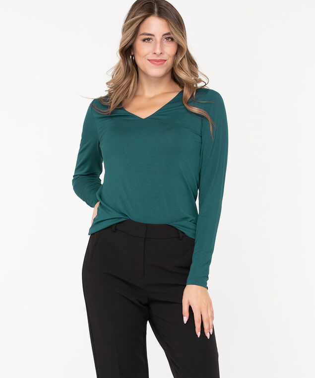 V-Neck Layering Essential Top, Teal