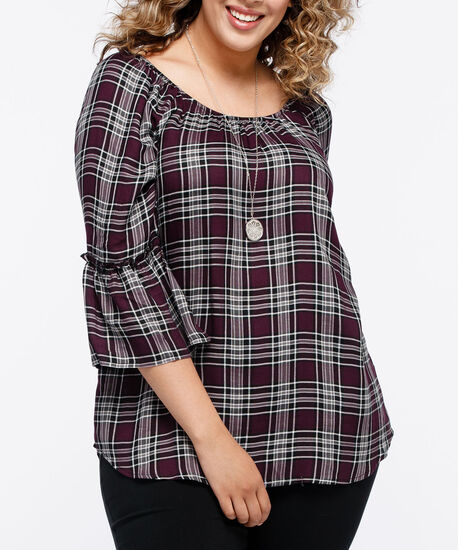 Plaid Peasant Blouse, Plum/Black/Pearl, hi-res