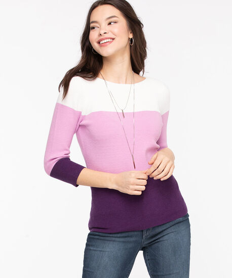 Boat Neck Colour Block Sweater, Orchid Tint/Purple/Whisper White, hi-res