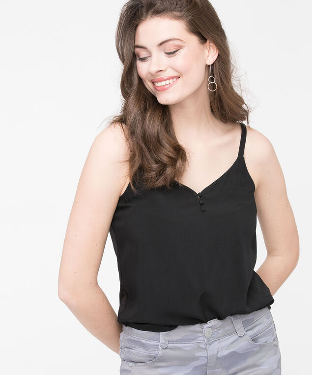 Strappy Light Mixed Media Top, Black