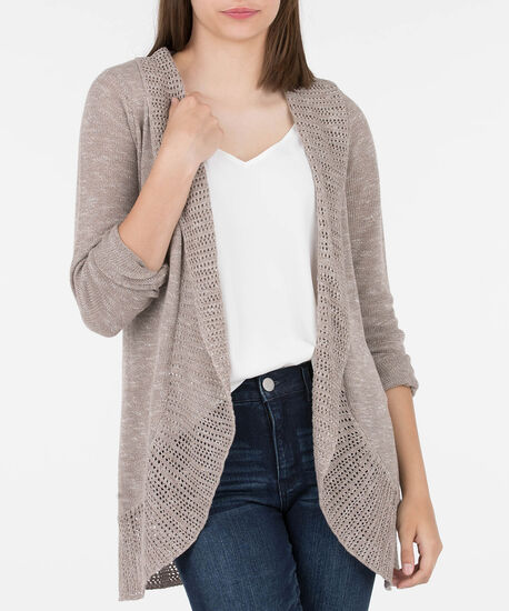Pointelle Border Open Cocoon Cardigan, Oatmeal, hi-res