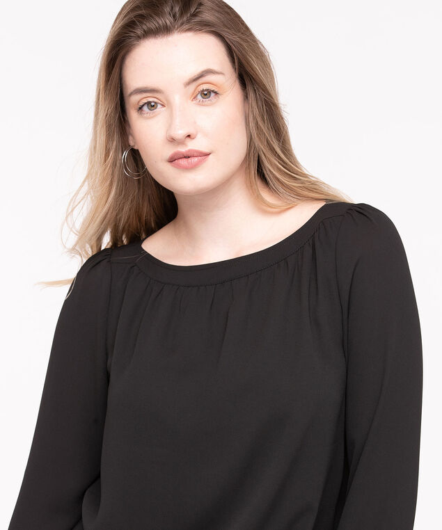 Long Sleeve Boat Neck Blouse, Black, hi-res