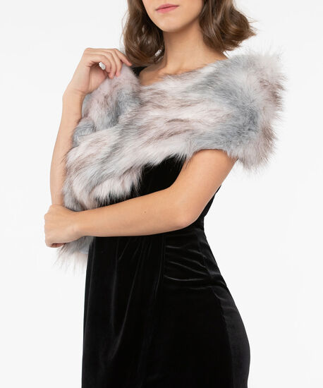 Faux Fur Stole, Pearl/Grey/Almond, hi-res