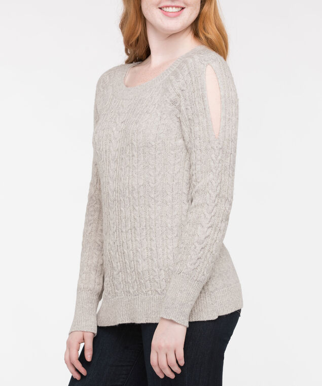 Cold Shoulder Cable Knit Sweater, Light Heather Grey, hi-res
