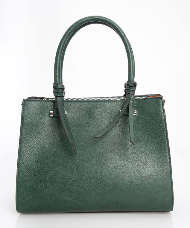 Accordian Style Satchel, Deep Green/Rhodium, hi-res