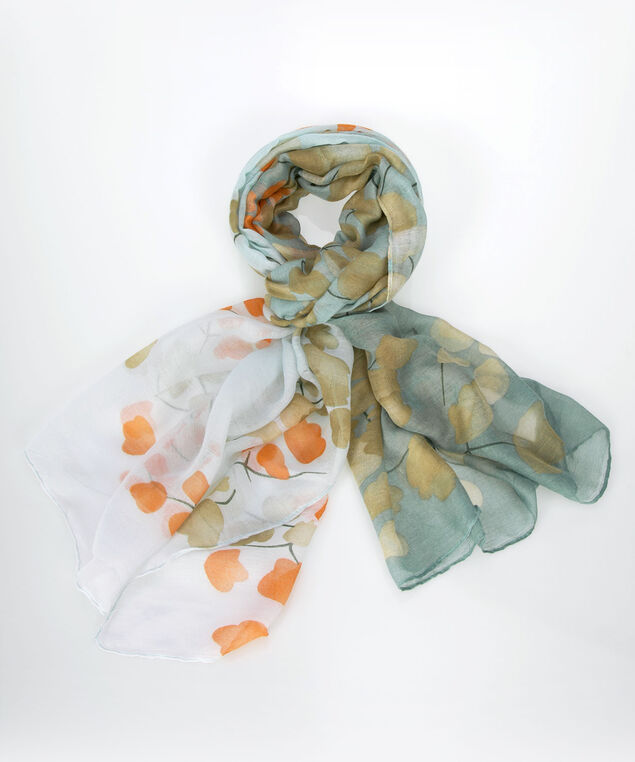Watercolour Floral Oblong Scarf, Teal/Coral/Taupe, hi-res