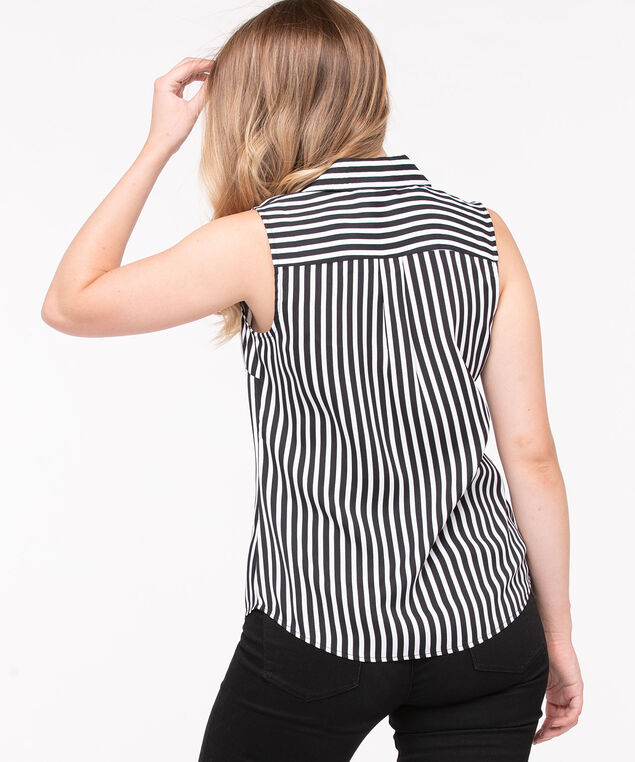 Sleeveless Button-Front Collared Shirt, Black/Pearl, hi-res