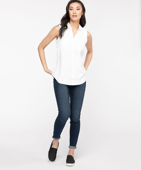 Sleeveless Collared Button Front Blouse, Snow White, hi-res