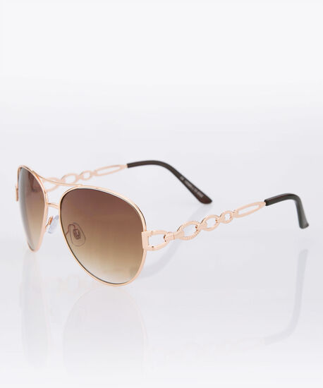 Chainlink Arm Aviator Sunglasses, Rose Gold, hi-res