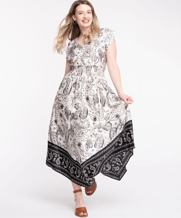 Bandana Print Smocked Waist Dress, Ivory/Black