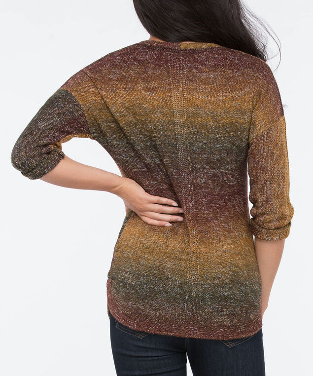Curved Hem V-Neck Sweater, Rust/Autumn Olive/Marigold, hi-res